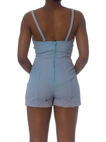 1950S JANTZEN Baby Blue Poly Blend Stretch One Piece Boyshort Swimsuit