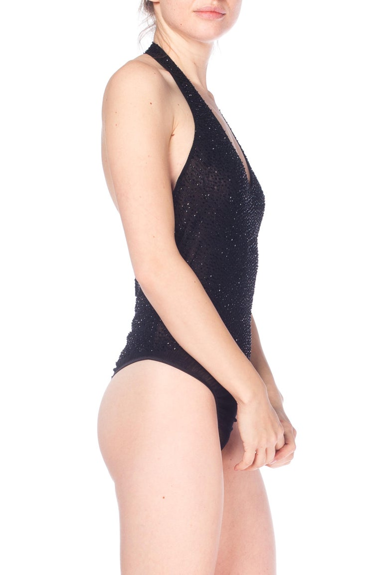 1990S Donna Karan Black Beaded Mesh Thong Bodysuit
