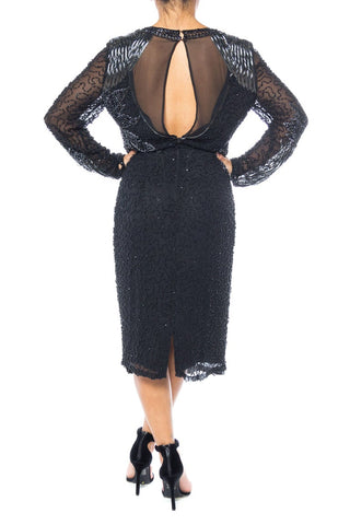 1980S Black Silk Chiffon Long-Sleeve Elaborately Hand Beaded Cocktail Dress