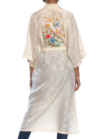 1960S Ivory Silk Jacquard Kimono