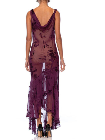 1990S Eggplant Purple Bias Cut Silk Burnout Chiffon Cowl Neck Slip Dress With Touches Of Beading