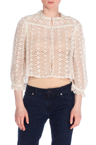 1900S Lace White Crochet Top With High Neck