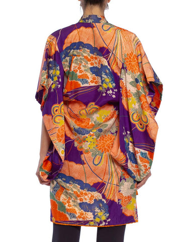 1940S Purple & Orange Silk Floral Printed Childs  Kimono With Bow Neck