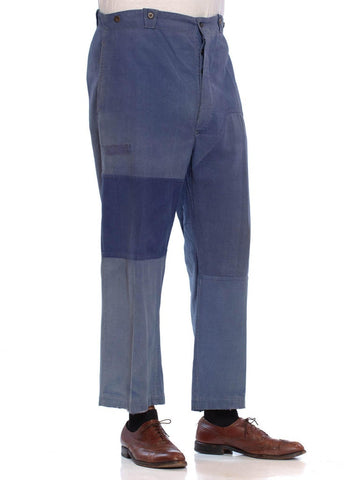 1940S Cotton Men's French Workwear Patchwork Pants With Suspender Buttons