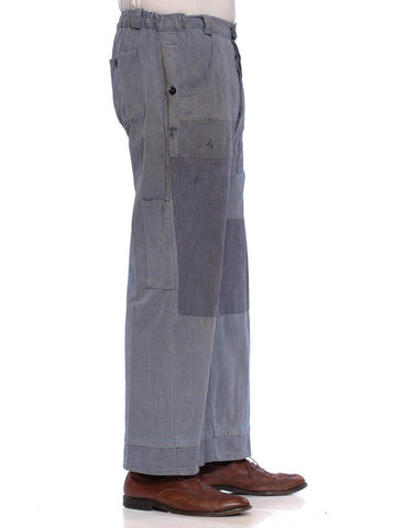 1930S Blue Cotton French Workwear Wide Leg Pants Distressed With Elastic Waist