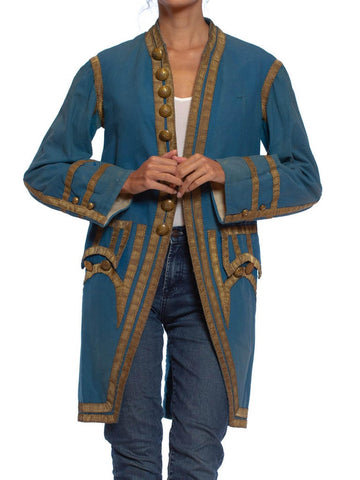 Victorian Blue  Wool Men's 18Th Century Style Frock Coat With Gold Metal Trim