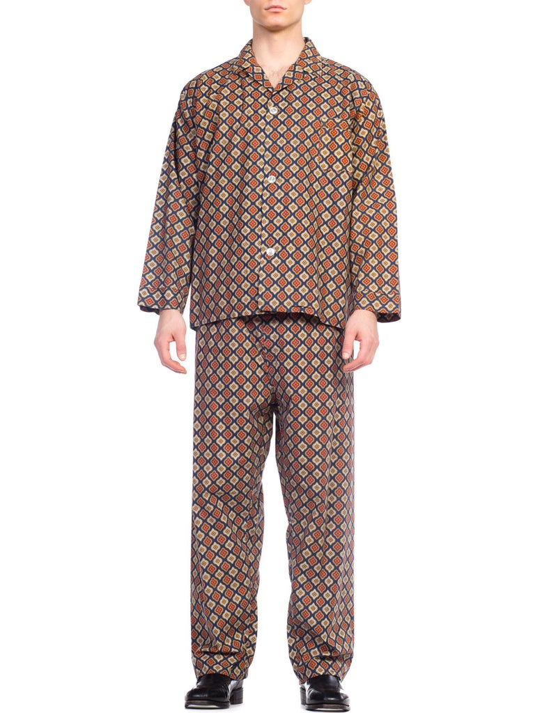 1960S Foulard Printed Cotton Men's Pajamas Set