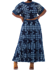 1980S Bis Cotton Chambray Houndstooth Star Print Skirt & Top Ensemble
