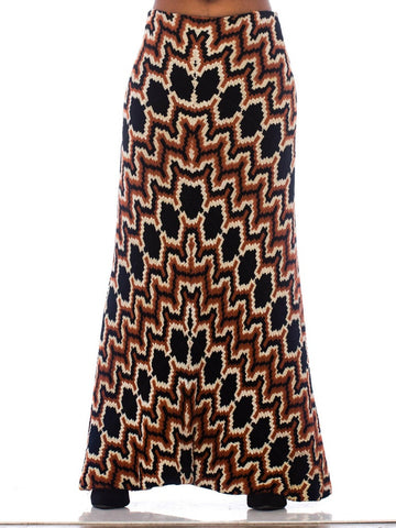 1970S Black, White & Copper Bias Cut Rayon Wool Italian Couture Zig Zag Chenille Maxi Skirt