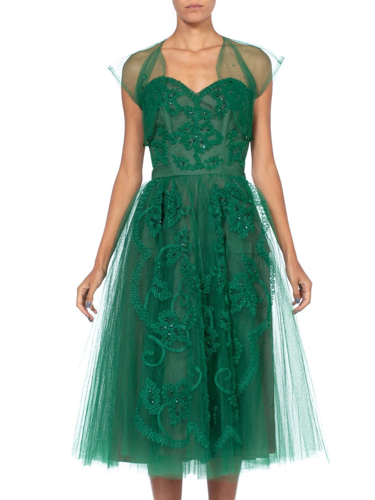 1950S Strapless Green Sequined And Tulle Gown Dress
