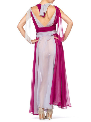 1930S Chiffon Purple And Lavender Colorblocked Gown Dress
