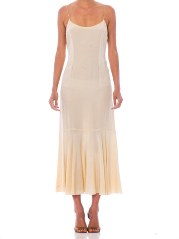 1930S Ivory Silk Crepe De Chine Slip From Bergdorfs Couture Salon