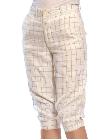 1920S Linen Men's Plus Fours Pants With Patches & Buckles At Cuff