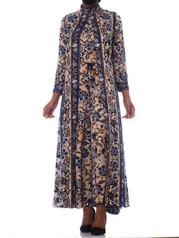 1970S Polyester Psychedellic Indian Floral Turtleneck  Jumpsuit With Matching Maxi Vest