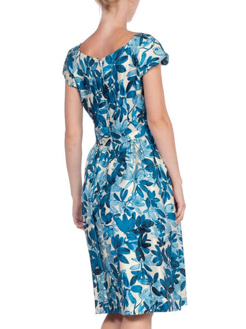 1950S Blue & White Floral Silk Twill Boat Neck Cap Sleeve Dress With Bow