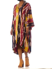 1970S Burgundy & Gold Silk Ikat Long Sleeve Unisex Kaftan With Pleated And Embroidered Neckline