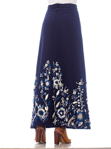 1970S Blue & White Polyester Linen Lined Maxi Skirt With Hand Embroidered Raffia Flowers