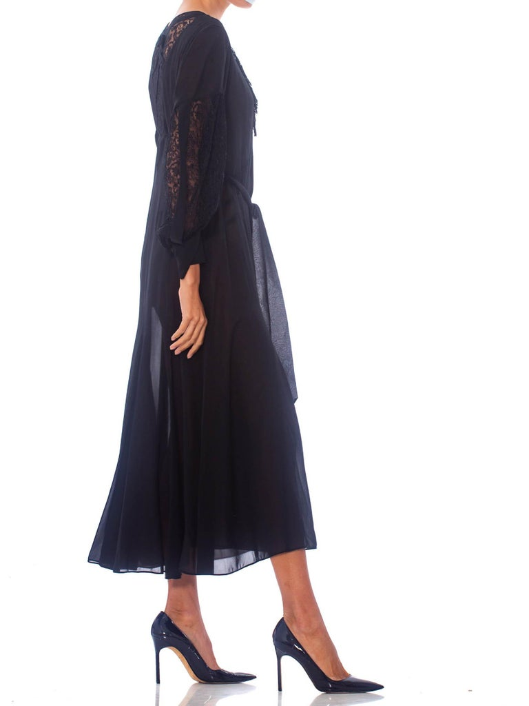 1930S Black Silk Chiffon Tie Waist Dress With Lace Inset Sleeves