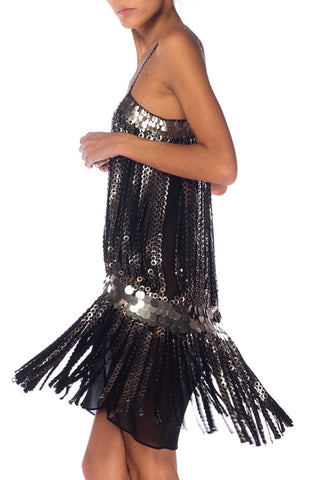 1990S Black Rayon Chiffon Metal Disc Fringe Flapper Style Cocktail Dress