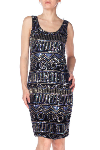 1970S Silk, Beads, Sequins 1970-80S Sleeveless Dress With Silver, Blue, And Black