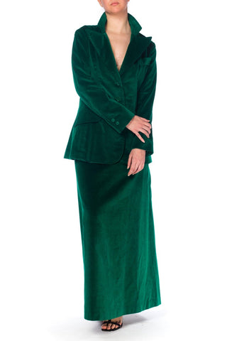 1970S Green Cotton Velvet Maxi Skirt Suit Xl