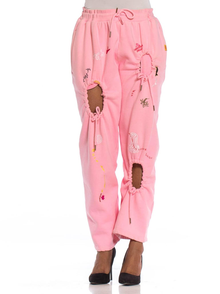 2010S Baby Pink Sweat Pants With Graffiti Embroidery And Decorative Holes
