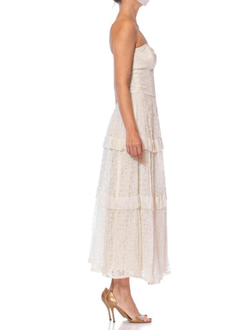 1950S White Strapless Cotton Eyelet Lace Fit & Flare Dress