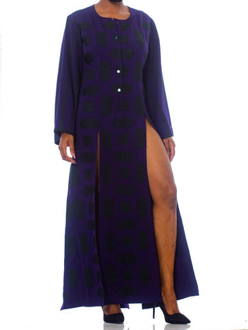 1980S Blue  Wool Theatrical Tunic Dress With Slits And Geometric Appliqué