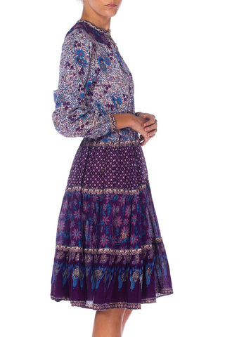 1970S Blue & Purple Cotton Indian Block Printed Dress