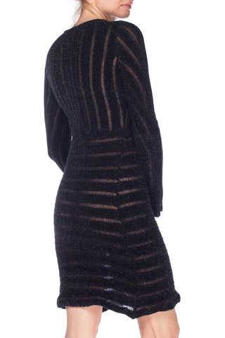 1980S MARTINE SITBON Dark Grey Metallic Poly Blend Knit Dress