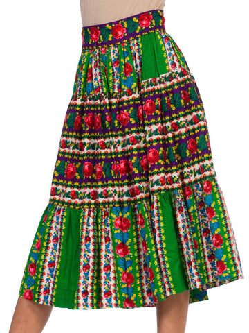1970S Bright Multicolor Cotton  Boho Floral Rose Skirt