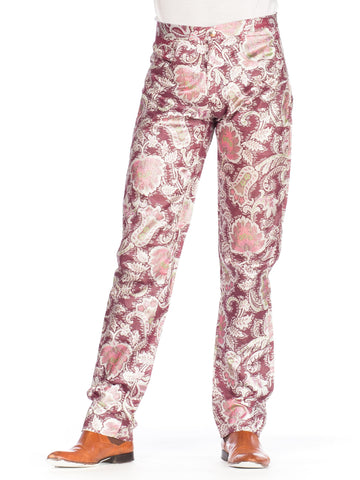 1990S Burgundy & Pink Poly/Lurex Unisex Metallic Floral Pants