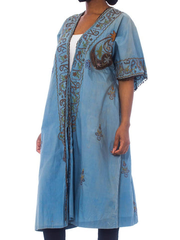 1920S Antique Blue Hand Dyed Cotton Short Sleeve Robe With Lurex Embroidery