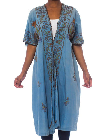 1920S Dusty Blue Silk/Cotton Blend Antique Hand Dyed Short Sleeve Mesopotamian Kimono Kaftan With Metallic Embroidery