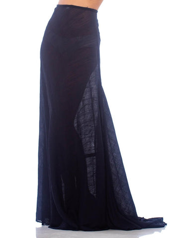 2000S CALVIN KLEIN Navy Blue Sheer Silk Textured Chiffon Bias & Trained Skirt