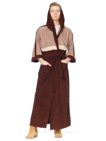 1980S Brown & Beige Colorblocked Velour Fleece Playboy Lounge Robe With Hood