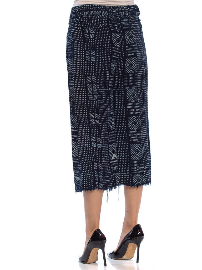 MORPHEW COLLECTION Indigo Blue Cotton Handwoven Hand Block Printed Wrap Pants