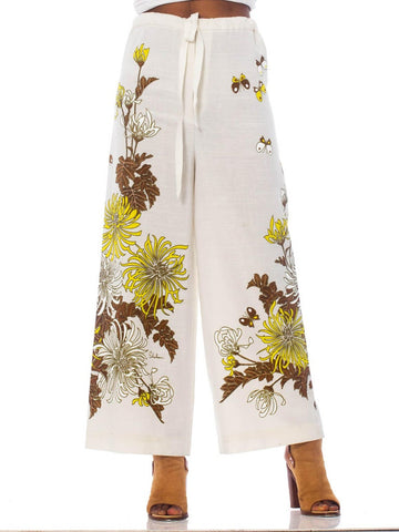 1970S Ivory Poly Blend Palazzo Pants With Yellow Butterfly & Flowers Print