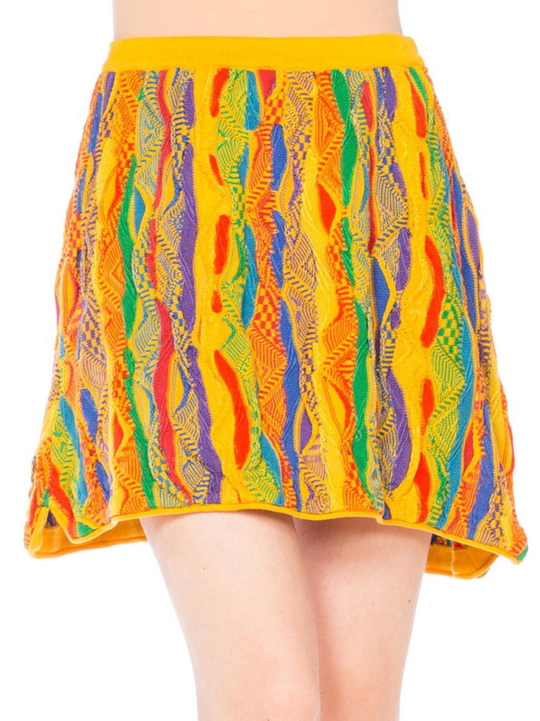 1990S COOGI Multicolor Yellow Knit Elastic Waist Mini Skirt