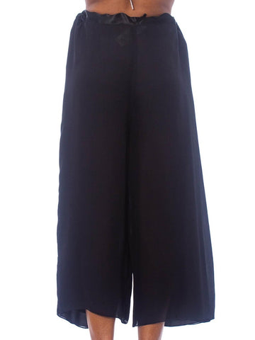 1990S Black Silk Chiffon Adjustable Wrap Pants