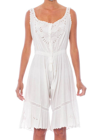 Victorian White Organic Cotton Eyelet Lace Corset Cover & Bloomers Combination Romper
