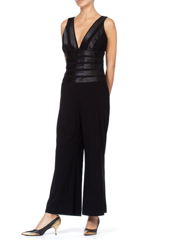 1980S Black Polyester Jumpsuit With Satin Stripe Details