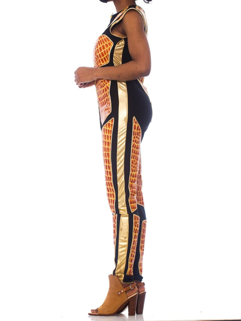 1990S Black Polyester Spandex Jumpsuit With Embossed Crocodile Skin & Gold Leather Piping