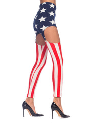 1980s Red, White & Blue Spandex Patriotic American Flag Suspender Leggings Pants