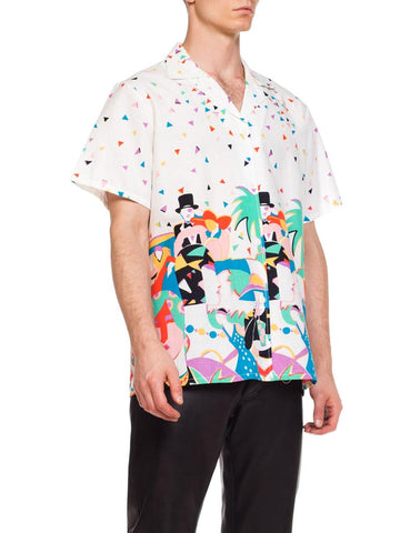 "1980S Men's Open Collar Linen Shirt With 1920'S ""Nightlife Print"""