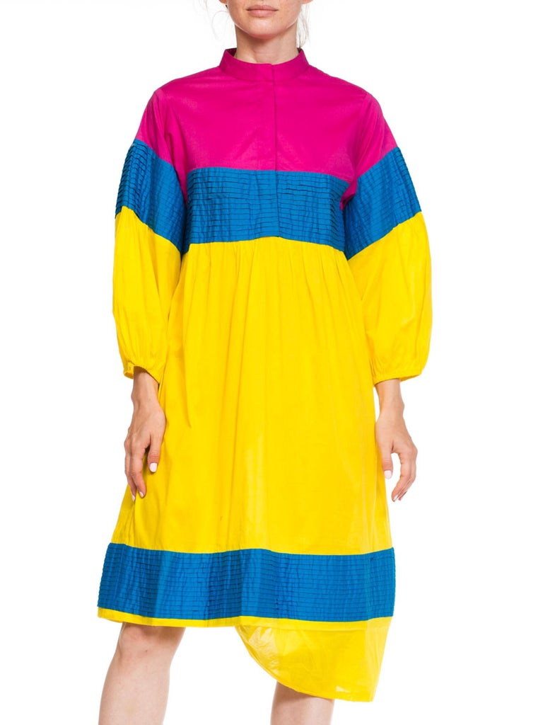 1980S Magenta & Yellow Cotton Colorblocked Dress With Pleated Panels