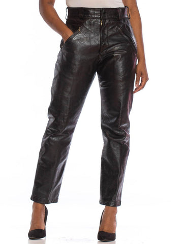 1970S BATES OF CALIFORNIA Black Leather Men's Custom Grade Motorcycle Pants