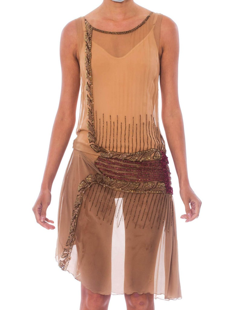 1920S Tan Silk Chiffon As-Is Beaded Flapper Dress