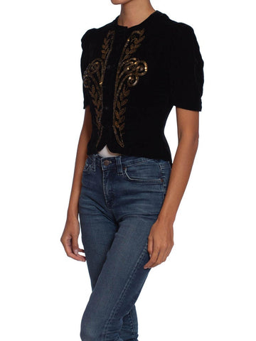 1930S Black Rayon & Silk Velvet Top With Copper Beading