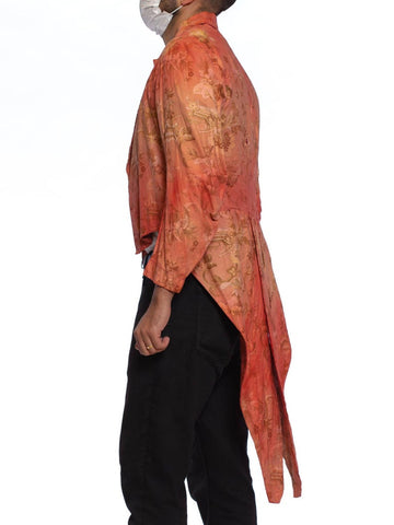 Victorian Red Cotton Tie Dye Rococo Print Men's Tail Coat Jacket